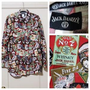 Jack Daniel's pattern men button down shirt XLT